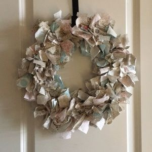 Farmhouse Wreath Neutral Rag Wreath Shabby Chic Rag Wreath